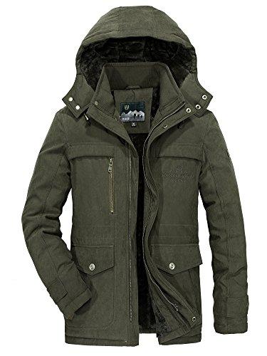 Winterjacke Herren Parka Gefüttert Baumwolle Mantel mit Pelzkragen Jacke Warm Outdoor Kapuzenjacke mit Fell, Grün, Gr. XL