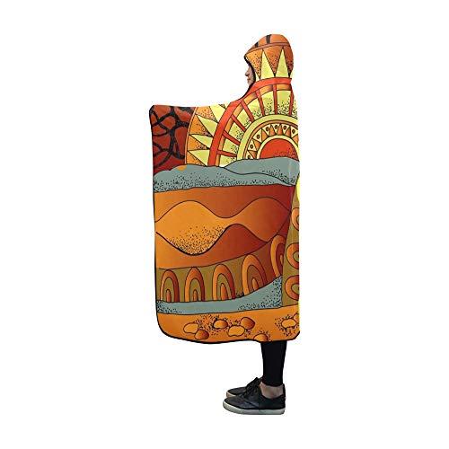 JOCHUAN Mit Kapuze Decke afrikanische Landschaft südlichen Landschaft handgezeichnete Decke 60 x 50 Zoll Comfotable mit Kapuze werfen Wrap Collage Fleece