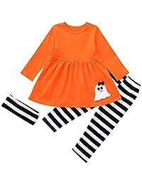 SamMoSon ☀☀Chaquetas Y Abrigos para Bebés Niña,Niño pequeño Niñas Fantasma Vestidos Pantalones de Rayas Conjuntos de Disfraces de Halloween