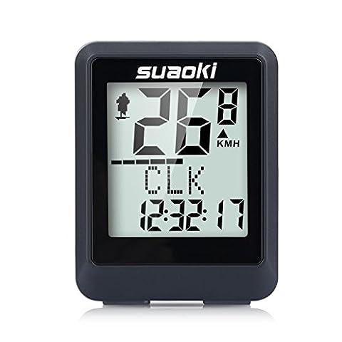Suaoki Compteur de Vélo sans Fil Bicyclette Odomètre Affichage rétroéclairé et Multifonction Suivi Distance, Vitesse, Temps, Caloric, température, CO2,