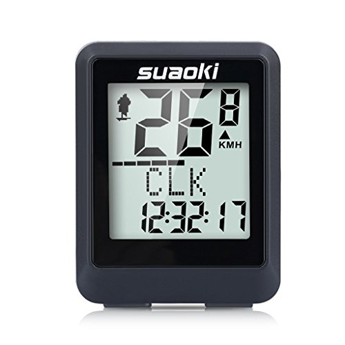 Suaoki BKV-9500 Contachilometri Bici Wireless Impermeabile con Display Retroilluminato, la Distanza di Tracciamento, Velocità, Tempo, Calorie, Temperatura, CO2