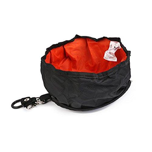 UEETEK Viaje plegable perro Bowl cuenco de agua alimentador portátil para mascotas gato perro alimentos (negro)