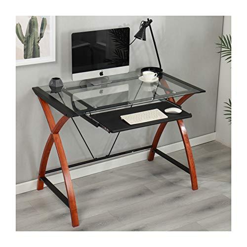 Cherry Tree Furniture Computer-Schreibtisch mit Tastaturablage aus gehärtetem Glas, mit Beinen aus Massivholz -