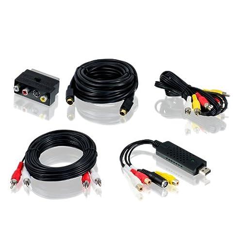 CSL - USB 2.0 Audio/Video Grabber inkl. Zubehörset | Neue Version / Neue Software (Windows 10 fähig) | VHS - Videoadapter zur Bearbeitung-Nachbearbeitung - vergoldete