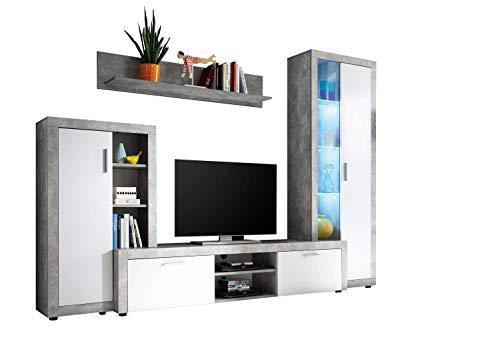 Avanti trendstore - merlo - parete da soggiorno in laminato di cemento d'imitazione e bianco, con illuminazione led compresa, dimensioni: lap 270x192x40 cm