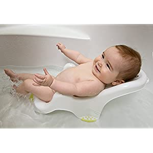 Safety 1st Anatomic Baby Bath Cradle for Safe Bathing, Suitable for New-borns, 0-6 Months, White/Lime