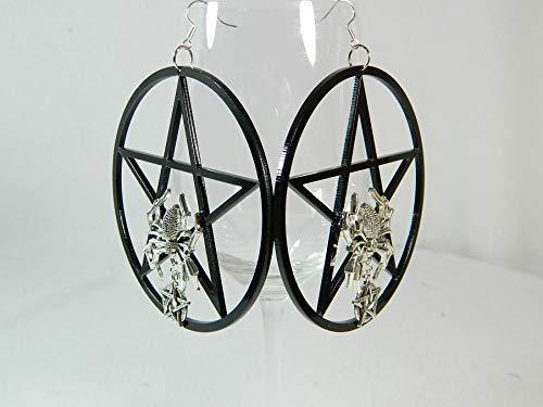 Pentagramm Ohrringe schwarz Gothic Spinnen Halloween Hexe Karneval