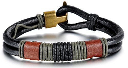 SaySure - Vintage Bronze Charm Rope Braided Black Leather (Black Tortoise Charm)