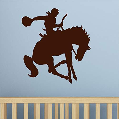yiyiyaya Cowboy Pferd Wandtattoo Kinder Western Decor Home Decoration Wohnzimmer Schlafzimmer Tapete lila 45x43cm