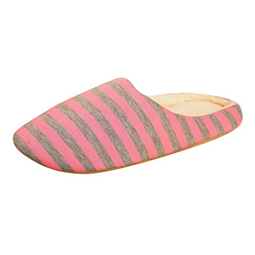 Topassion Unisex Home Plush Soft Slippers House Slippers Stripe Shoes Women Men Comfort Memory Foam Slippers Wool-Like Plush Fleece Lined House Shoes w/Indoor, Outdoor Anti-Skid Rubber Sole