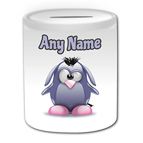 Charakter Disney Cartoon Kostüme (Personalisiertes Geschenk – Eeyore Spardose (Pinguin Cartoon Charakter Kostüm Design Thema, weiß) – alle Nachricht/Name auf Ihre einzigartige – Silly Funny Neuheit kawaii Humor Anime Animation Film Movie Game Roman Art Clipart Episode TV Fernseher Serie)