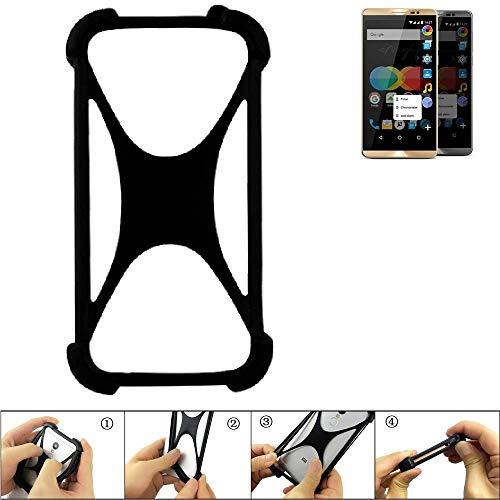 K-S-Trade Handyhülle für Allview P8 eMagic Schutz Hülle Silikon Bumper Cover Case Silikoncase TPU Softcase Schutzhülle Smartphone Stoßschutz, schwarz (1x)