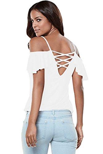 La vogue Damen Sommer Trägertop T-Shirt Schulterfrei Tunika Blusen Oberteil Weiß