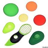 Nourriture Couvertures en Silicone - Pour avocats et ronds fruits / légumes - Conserve les aliments frais - Trancheuse d'avocat 3 en 1 incluse - Couvercles ronds conviennent aussi aux bocaux/tasses
