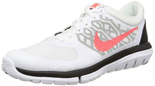 Nike Wmns Flex 2015 Rn, Scarpe sportive, Donna White/Hot Lava-Black