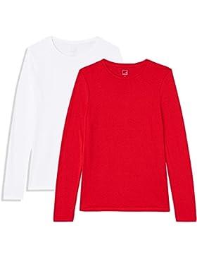 MERAKI Camiseta Manga Larga Mujer Cuello Redondo, Pack de 2