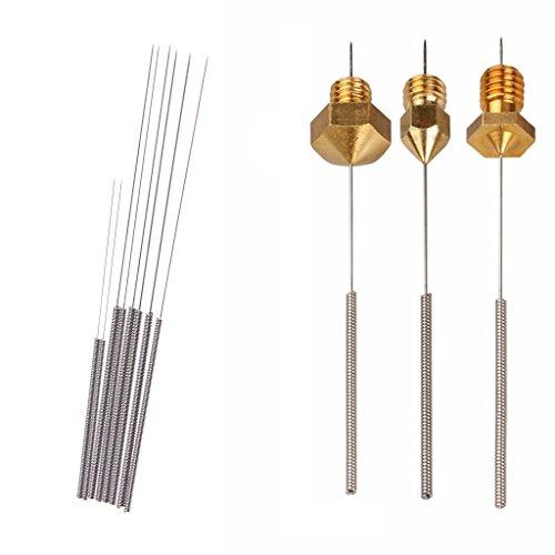 Chiic 8 Stück/Set Edelstahl Düsen-Reinigungsnadeln 0,2/0,25/0,3/0,35 mm für 3D-Drucker Airbrush (Silber)
