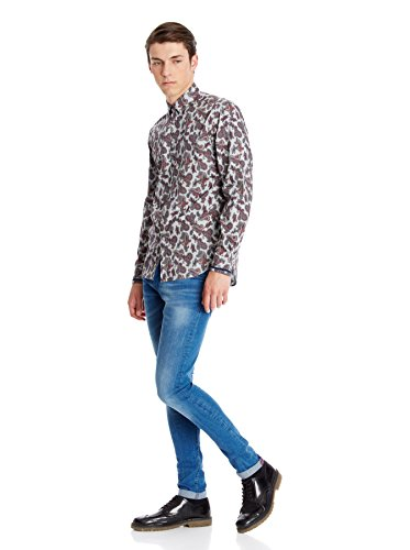 Merc of London Herren Smoking Hemd Hull, Shirt Paisley Grau - Gris (Ash)