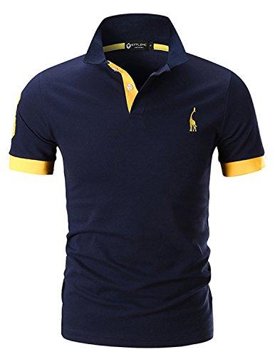 STTLZMC Herren Poloshirt Kurzarm Stickerei Polohemd Golf T-Shirt S-XXL,Blau 1,XX-Large (Stickerei Shirt)