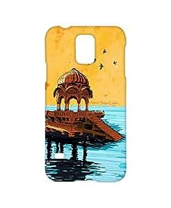 VDESI Designer Matte Finish Plastic Back Cover For Samsung Galaxy S5 (SM-G900I)- Amar_Saagar_Lake (Blu_Ylw)