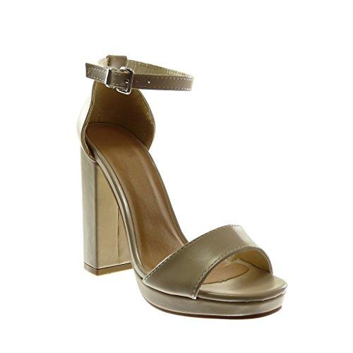 911ac17da479a8 Angkorly Chaussures Mode Sandales Decollete Chaussures Avec Bride À La  Cheville Femme String High Block Talon