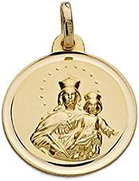 Medalla oro 18k Virgen María Auxiliadora 18mm. [AA0603GR] - Personalizable - GRABACIÓN INCLUIDA EN EL PRECIO