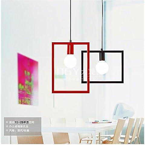 Tytk Casella di geometria lampadari, nero 32*26cm americano industrie rurali sala biliardo Biliardo lampadari retrò caffetterie ristoranti lampada nostalgico