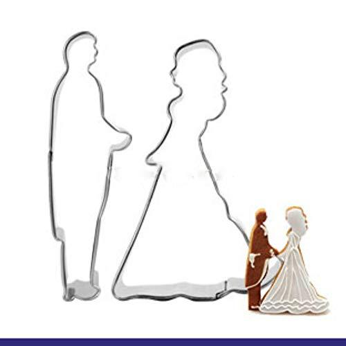 Ausstechformen,Bräutigam Braut Hochzeit Edelstahl Keks Schneidform Set Diy Cookie Obst Gemüse Fondant Schokolade Kuchen Backen Utensil (2 Stücke) (Ausstechformen Hochzeit Bräutigam)