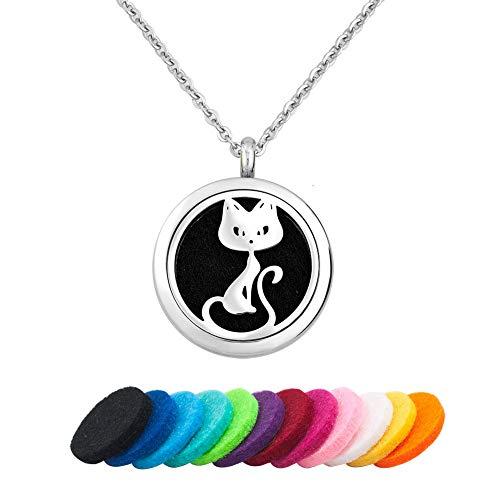 PoeticCharms Aromatherapie Ätherisches Öl Diffusor Container Halskette Katze Haustier Tier Medaillon Anhänger Frauen Mädchen Männer