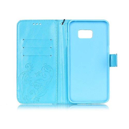 Prägen Blumen-Case, Magnetverschluss Synthetische PU-Leder-Kasten-Abdeckung mit hängenden Seil und Wallet-Funktion für Samsung S6 Rand Plus ( Color : Pink , Size : Samsung S6edgeplus ) Blue