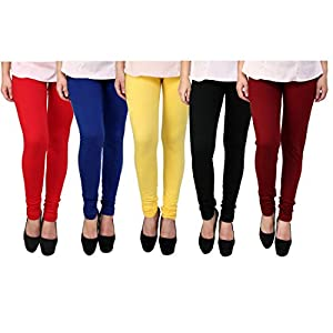 K's Creations Women's Cotton Leggings (Red, Blue, Yellow, Black and Maroon_Free Size) – Pack of 5