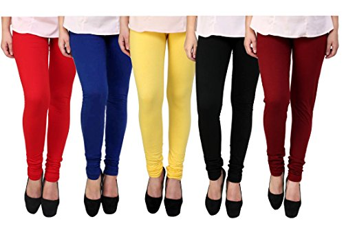 K's Creations Cotton Lycra Leggings for Woman (Pack of 5) (Free Size)