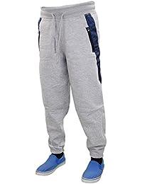 Nouveaux Hommes Pantalons Side Jogging Zip Poche Jogging Bas Pantalons Elasticated Hem