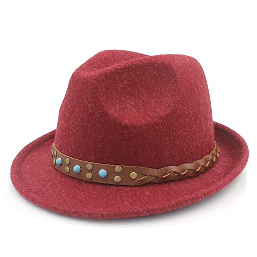 Warme Mützen für Frauen, Frauen Männer Chapeau Femme Fedora Hut Gentleman Sombrero Trilby Kirche Derby Cloche Top Cap mit Mode Leder -