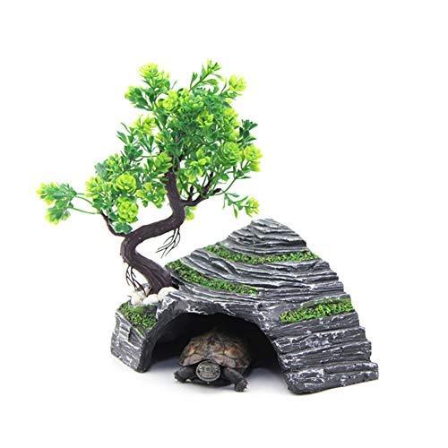 OMEM - Abri pour Reptiles - Terrarium - Cachette - Rampe pour Tortue - Plateforme - Décoration d'habitat - Humidificateur - Cachette en résine (M)