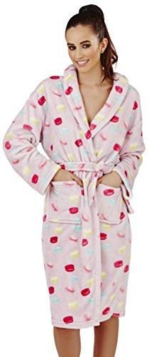 Luxuriöse Damen Macaron Drucken Flanell-Vlies-Midi Robe, Talar, 2 Fronttaschen, Kapuze und passender Krawatte Gürtel, Klein (Flanell-krawatte)