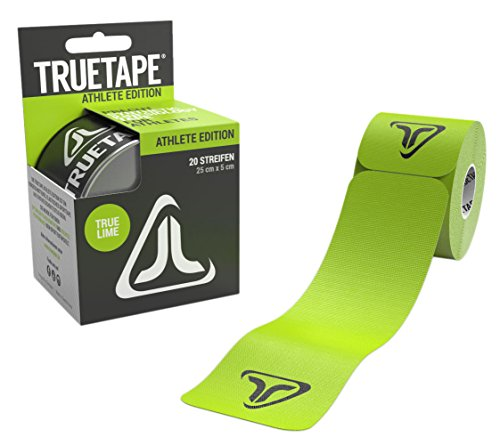 TRUETAPE ATHLETE EDITION | vorgeschnittenes Kinesiologie Tape | True Lime | Physio-Tape | Kinesiotapes | 20 vorgeschnittene Streifen | CE Zertifiziert | Farbauswahl | Aufbewahrungsbox | 40 Anleitungen