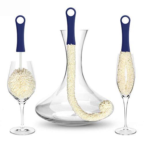 Decanter e glassware cleaning brushes - spazzola per la pulizia del vetro per la pulizia di aree difficili da raggiungere, ad esempio wine champagne glasses babies bottiglie, boccali di birra set di 3
