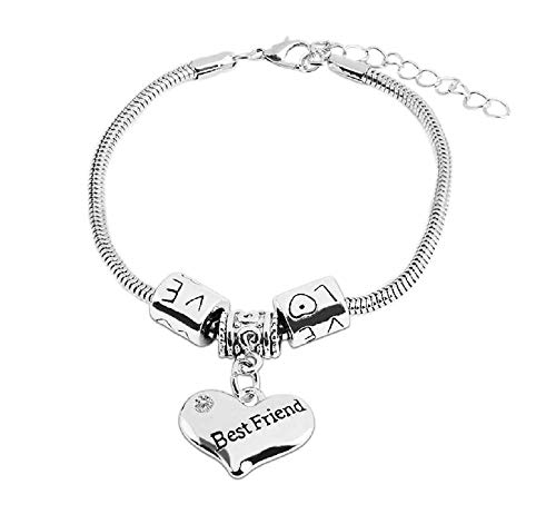 Imagen de pulsera con colgante corazón grabado best friend y pedrería plata joya idea regalo para cada ocasión
