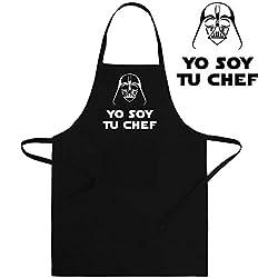 ClickInk Delantal Divertido y Original. Parodia Darth Vader Yo Soy tu Padre - Yo Soy tu Chef. La Guerra de Las Galaxias - Star Wars. Regalo Friki. Cintas.
