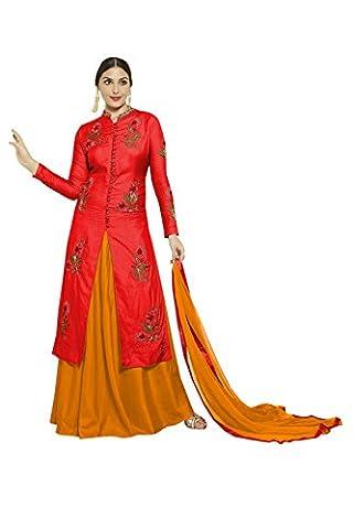 Salwar Kameez ready To Wear Ethnic Silk Suit Indian Dress AS-2470 (Red)