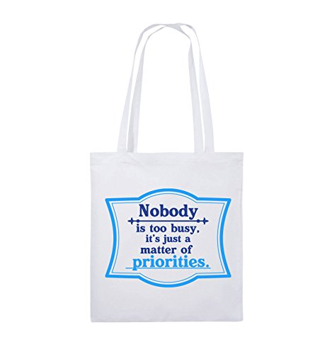 Comedy Bags - Nobody is too busy, it's just a matter of priorities. - Jutebeutel - lange Henkel - 38x42cm - Farbe: Schwarz / Weiss-Neongrün Weiss / Royalblau-Hellblau