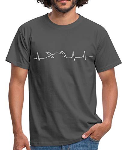 Ekg Maschine (Spreadshirt Motorrad Biker Herzschlag EKG Linie Mit Bike Männer T-Shirt, L, Graphite)