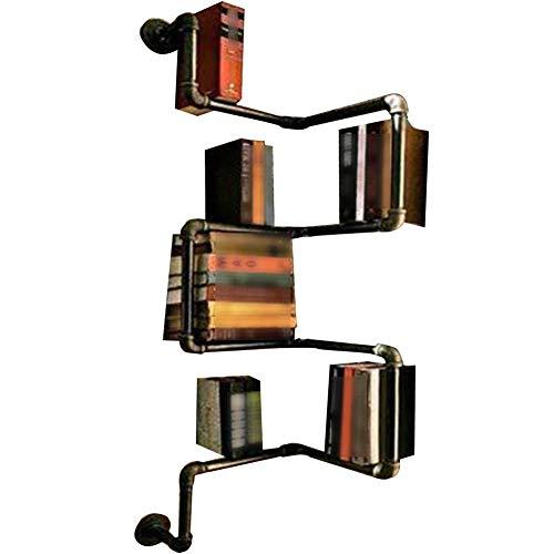 Bücherregal Bücherregal, Holzregal Schrank, Display Regale Organizer Folding Bücherregal Industrial Style Schmiedeeisen Retro Wasserpfeife Wand Bücherregal, 30 * 30 * 120CM -