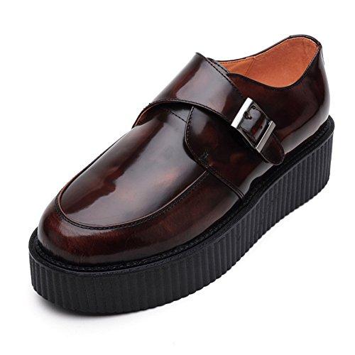 RoseG Herren Leder Oxford Plateauschuhe Platform Creeper Schuhe Branu Size 45