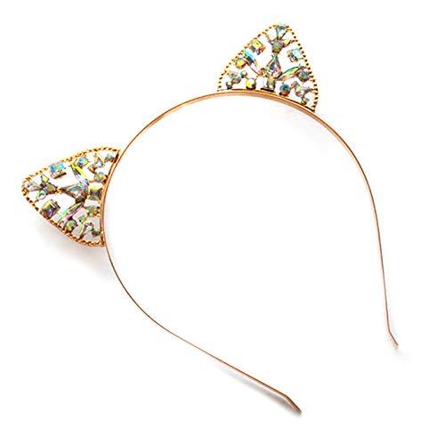 Cosplay Cute Girl Kostüm - HasiDun Great Fashion Women Girls Cute Cat Ear Alice Band Headband Metal Rhinstone Silver Hairband Kostüme Party Cosplay(None Gold @)