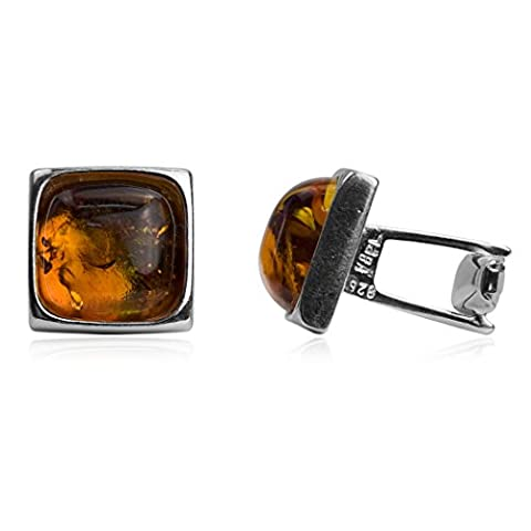 Amber Sterling Silver Square Perfect Men Cufflinks