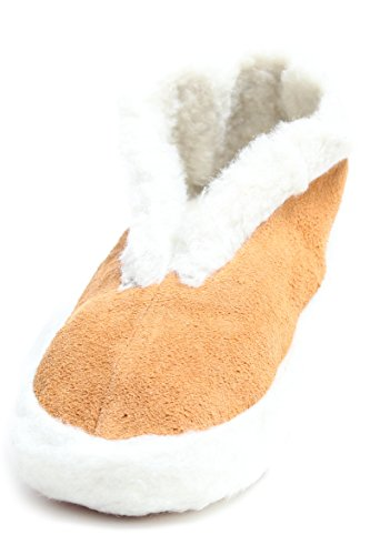 BRUBAKER Mens and Womens Non-Slip Slippers flexible Sole Leather with Fur Lining...