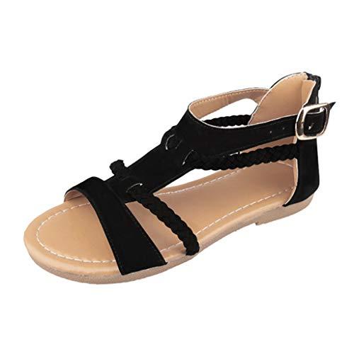 Sandalen Damen Sommer Flip Flops Sandaletten Bohemian Flach Zehentrenner Strandschuhe PU Leder Sandals mit Strass (EU:36, Schwarz)