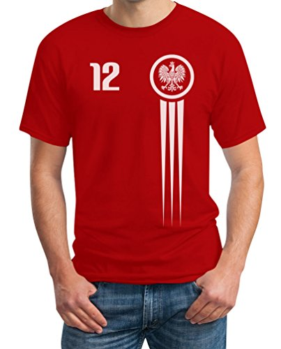 Polen Polska Trikot Fanshirt WM 2018 Nationalmannschaft T-Shirt XXXX-Large Rot